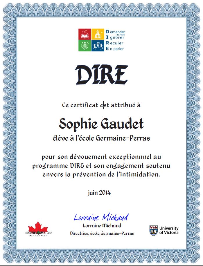 Certificat de contribution exceptionnelle - Example