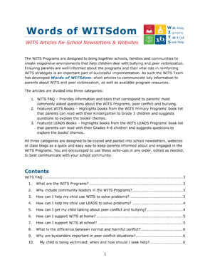 Words of WITSdom: WITS Articles for School Newsletters & Websites