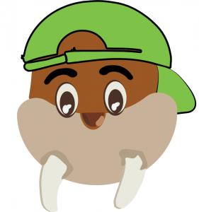 A walrus cartoon wears a green baseball cap that is on backwards